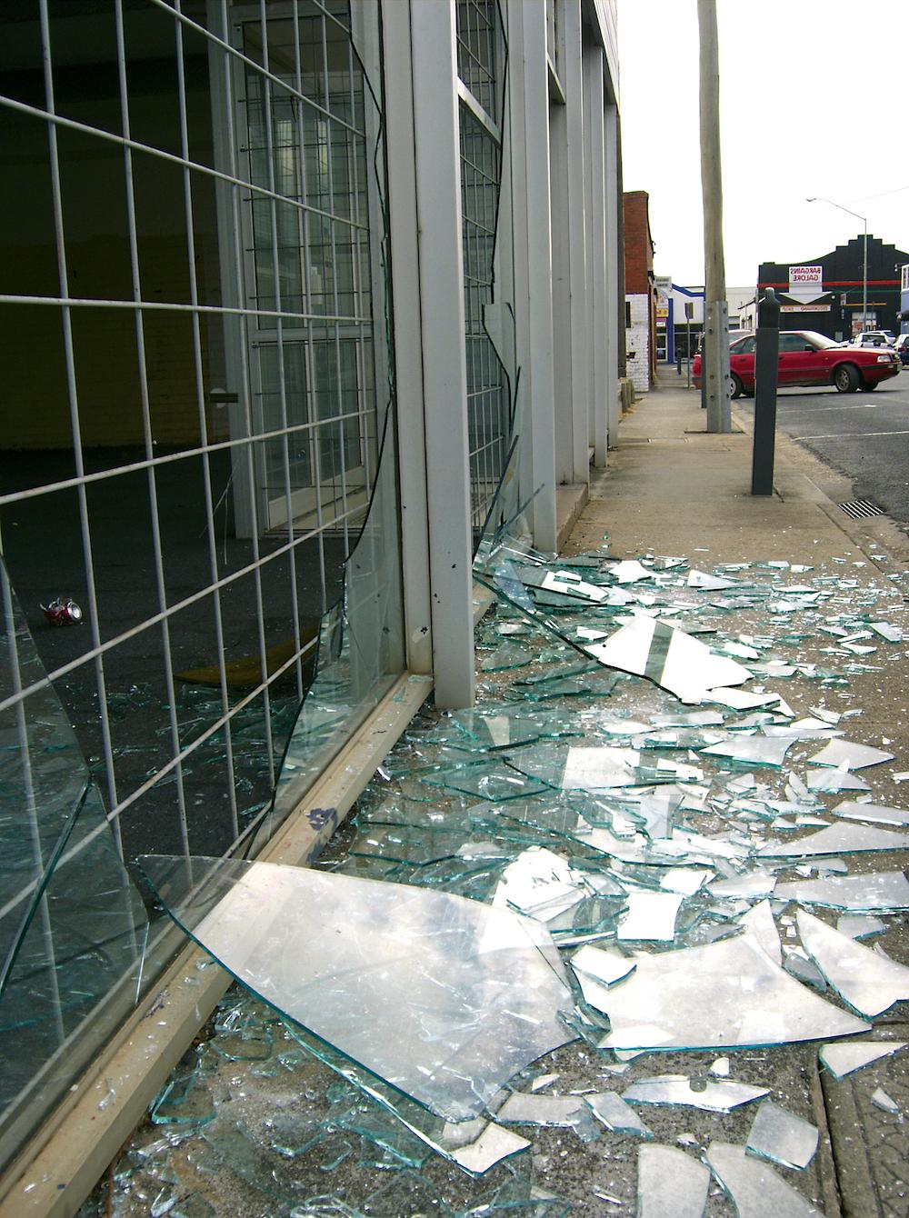 Broken shop window Film in Boston